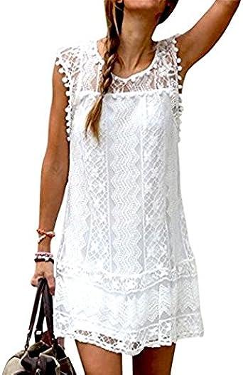 Falda Mujer Blanco Vestido Bañador Playa Blusa Verano: Amazon.es ...
