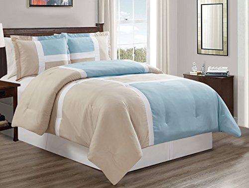 3 piece Light Blue / Light Grey / WHITE Goose Down Alternative Color Panel Oversize Comforter Set, QUEEN size Microfiber bedding, Includes 1 Oversize Comforter and 2 (Comforter 2 Shams)