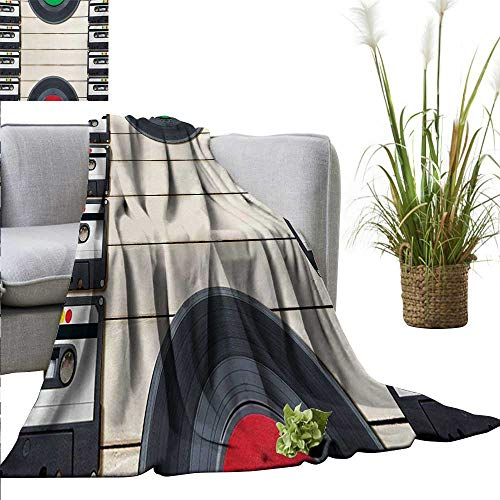 (AndyTours Bed Blanket,Indie,Top View of Audio Cassettes Gramophone Records Old School Retro Music Theme,Black White Cream,for Bed & Couch Sofa Easy Care)