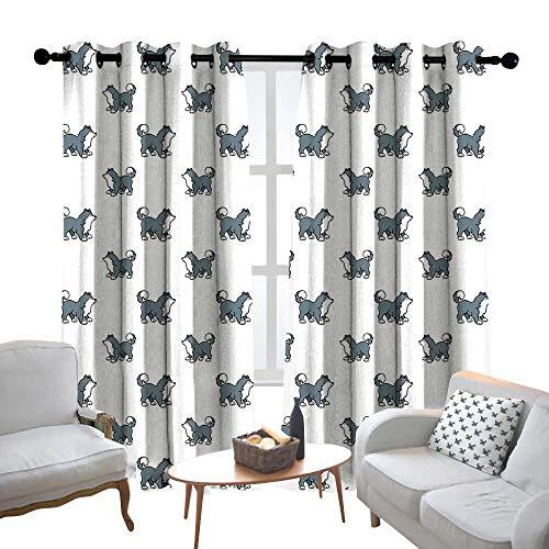 Lewis Coleridge Window Curtain Fabric Dog,Husky Puppy Siberian Energetic Pet Alaskan Origin Sketch Style Cartoon Cold,Blue Grey Black White,Rod Pocket Curtain Panels for Bedroom & Living Room 52