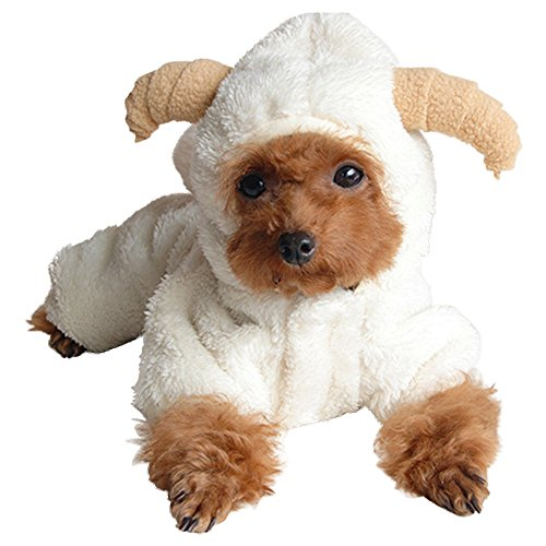 Eastlion Lovely Sheep Cosplay Fleece Warm Small Pet Dog Coats Sweaters Hooded Puppy Halloween Clothes,White XL(11-13kg) -