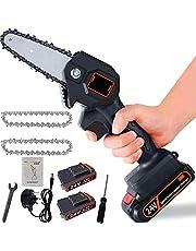 Mini-elektrische zaag, accu-handkettingzaag met oplader en 2 batterijen, elektrische zaag, wordt geleverd met drie kettingen, instelbare snijsnelheid, voor hout- en metaalzagen (zwart)