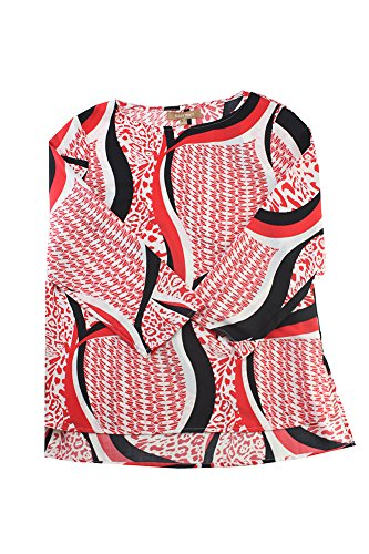 Ellen Tracy Pepper Combo Printed /-Sleeve Blouse S