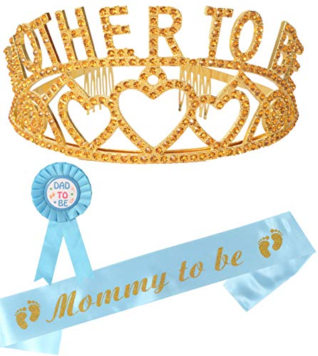 Mother to Be Tiara Gold Hearts Crown | Mom to Be Sash | Dad to Be Pin | Baby Shower Party Favors Decorations Gift Boy or Girl | Gender Reveals Party Gifts |Great for New Mom (Gold)