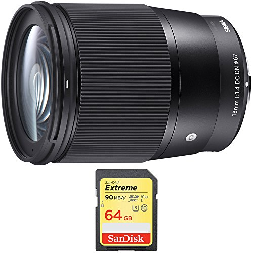 Sigma 16mm F1.4 DC DN Sony E Mount Lens (402965) with Sandisk 64GB Extreme SDXC Memory UHS-I Card