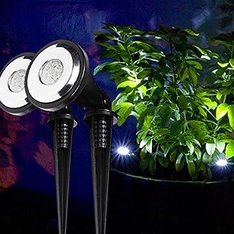 Lights4fun - Par de balizas solares led para jardín (luz blanca): Amazon.es: Iluminación