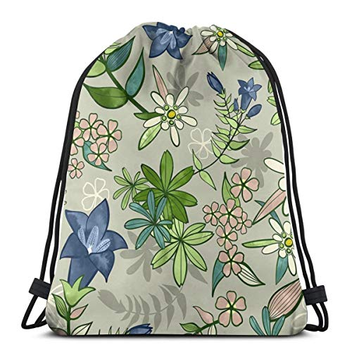 Alpine Flowers - Gentian, Edelweiss Scale_7357 3D Print Drawstring Backpack Rucksack Shoulder Bags Gym Bag for Adult 16.9