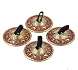 DharmaObjects 2 Pairs Pro Brass Fingers Cymbal Zills Belly Dancing Free Silk Pouch (Red)