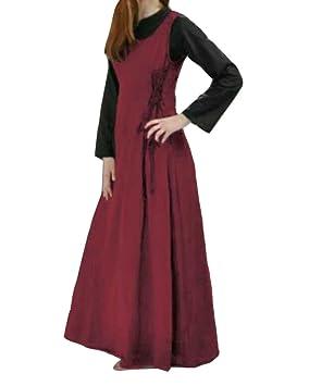 Vestido Medieval Sin Manga Mujer Noche Fiesta Traje Medieval Disfraz Largo Swing Vestido