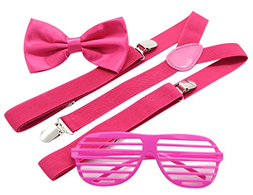 80's Themed Costumes For Men (JAIFEI Plastic Shutter Shades Glasses + Adjustable Suspenders + Bow tie Set For Costume Parties Props (Hot Pink))