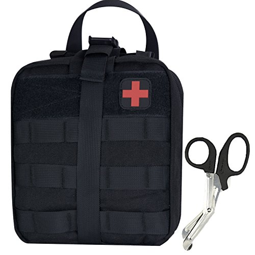 Medical Pouch - Tactical MOLLE Rip-Away 1000D EMT Utility Pouches With Buckle Strap and Velcro Attachment - Free Bonus First Aid Patch And Shear(Black)
