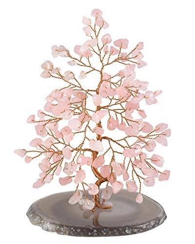 (Jovivi Natural Pink Crystal Rose Quartz Money Tree Tumbled Gemstones, Geode Agate Slices Base Feng Shui Ornaments Home Living Room Table Office Decoration for Wealth and Luck)