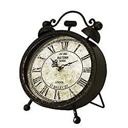 10 Battery-Operated Antique-Style Metallic Black Weathered Oval Roman Numeral Desk Clock