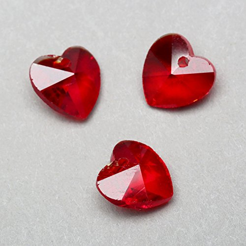 Dophee 20Pcs 10mm Glass Crystal Heart Shaped Spacer Beads for Jewelry Earring Findings Pendants, Red