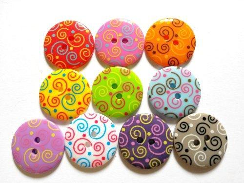15 Pcs - Cute Retro Swirl Printed Button Size 23 Mm - Mix ()