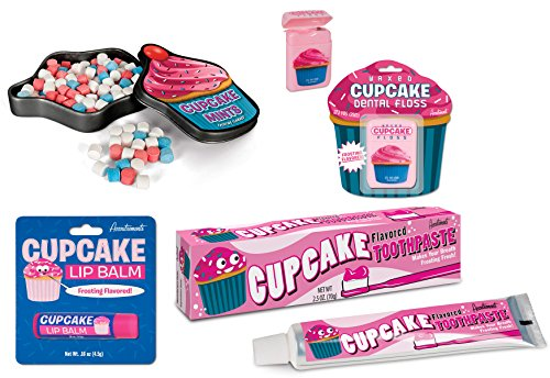 Cupcake Lover's Gift Set - Cupcake Toothpaste, Cupcake Mints, Cupcake Dental Floss & Cupcake Lip Balm (Bundle of 4 Items)