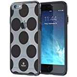 """iPhone 6 6s Plus Case 5.5"""", True Color® Large Polka Dots Printed on Clear Transparent Hybrid Cover Hard + Soft Slim Thin Durable Protective Shockproof TPU Bumper Cover - Black"""