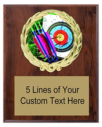 Express Medals 5x7 Cherry Color Archery Plaque Award Trophy with Engraved Plate FCL404 ()