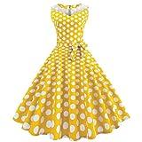 Lljin Women Vintage Dot Printing Sleeveless Mesh Patchwork Evening Party Swing Dress (Yellow, S)