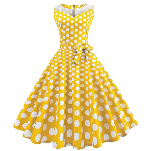 Lljin Women Vintage Dot Printing Sleeveless Mesh Patchwork Evening Party Swing Dress (Yellow, S) by Lljin