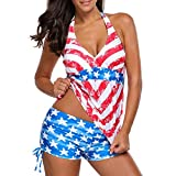 Dacawin Women Swimwear} American Flag Print Stars Beach Halter Surfing Bathing Suit (Red, XL)