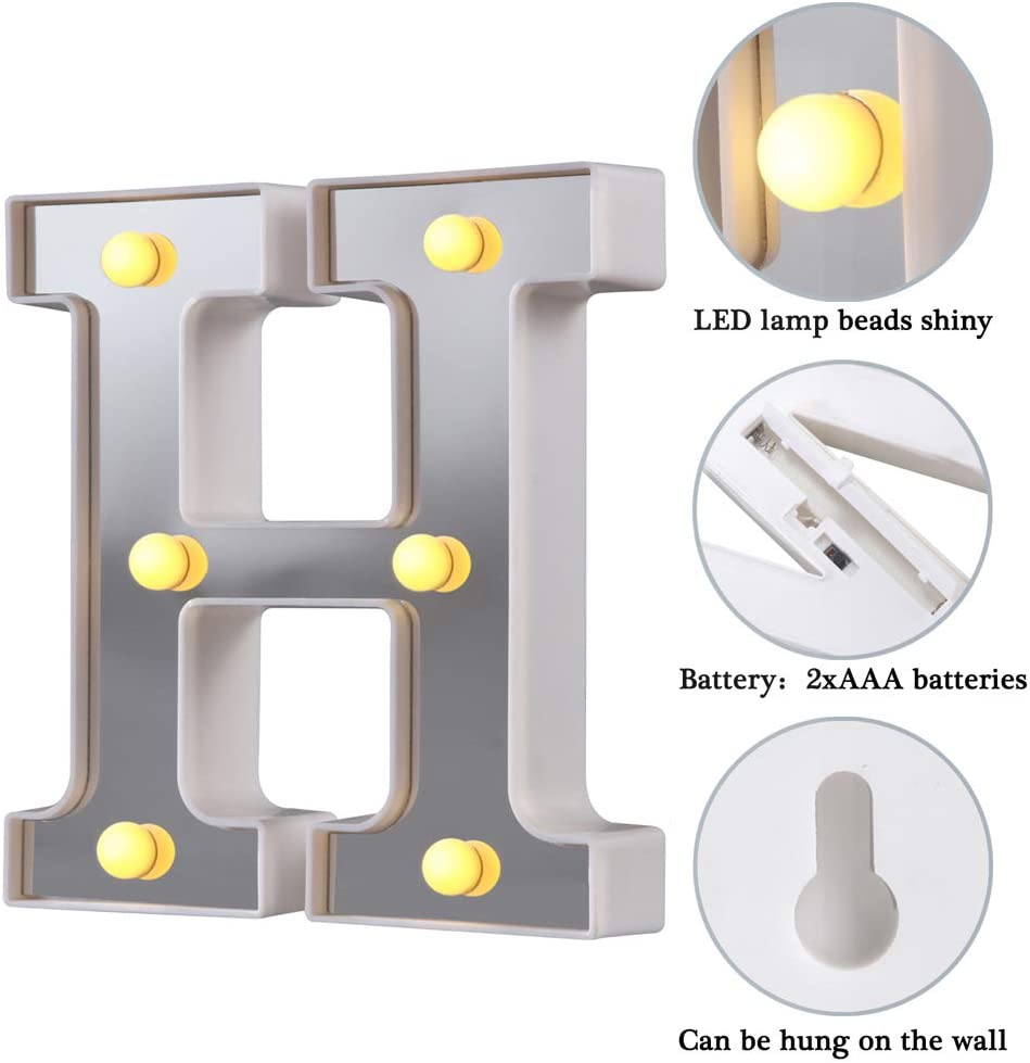 LED Marquee Letter Lights Silver,H 26 Alphabet Light Up Letters Sign Perfect for Night Light Wedding Birthday Party Christmas Lamp Home Bar Decoration