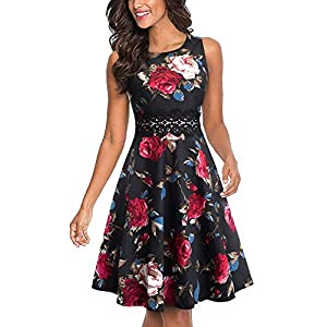 HOMEYEE Women's Sleeveless Cocktail A-Line Embroidery Party Summer Wedding Guest Dress A079 18