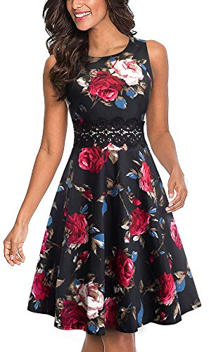 HOMEYEE Women's Sleeveless Cocktail A-Line Embroidery Party Summer Wedding Guest Dress A079(6,Black+Red Floral 2) ()