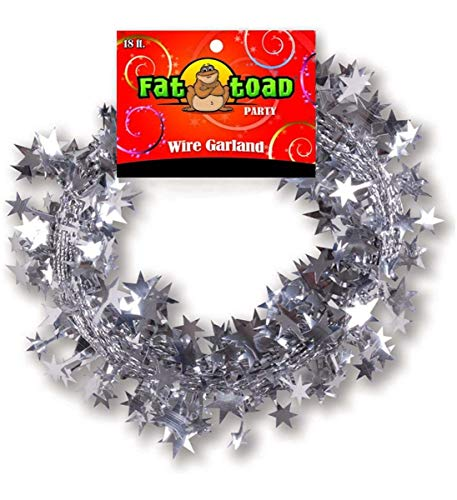 Mozlly Fat Toad Party Silver Metallic Star Wire Garland - 18 Feet - Bright Shiny Materials - Easy to Hang - Flexible Wire - Party Supplies (Metallic Wire Garland)