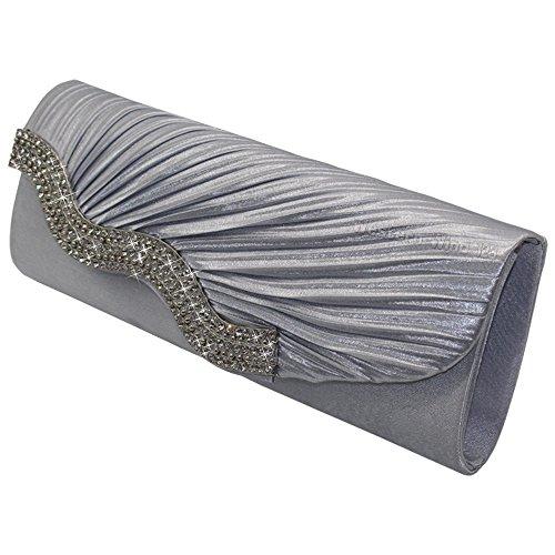 Wocharm Ladies Satin Wavy Crystal Decoration Evening Clutch Bag Wedding Bridal Prom Evening Envelope Handbag Womens Coin Purse Wallet Silver