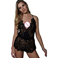 Lace Sleepwear, Sexy Sleeveless V-Neck Lingeries Clubwear Jumpsuit For Black Friday (Black, 3XL)