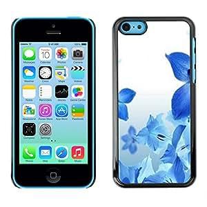 Azul flores de primavera fresca Naturaleza Blanca- Metal de aluminio y de plástico duro Caja del teléfono - Negro - iPhone 5C