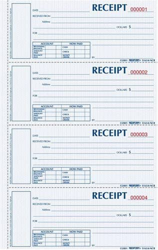 Blueline Rediform Money Receipt Book, Hardbound, 2 x 6.875 inches, 4 per Page, 200 Triplicates (S1657NCL)