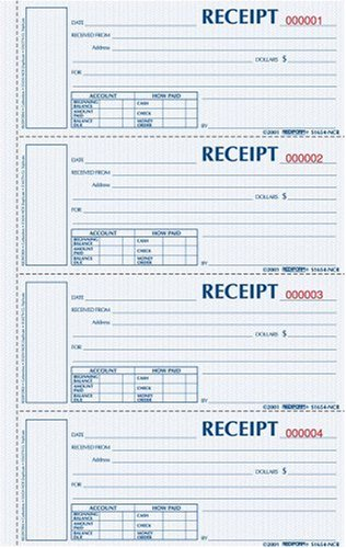 Rediform Money Receipt Book, Hardbound, Carbonless, 2 x 6.875 Inches, 4 Per Page, 200 Triplicates (S1657NCL)