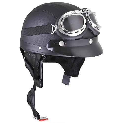 Yescom-Retro-Vintage-Motorcycle-Scooter-Bike-Harley-Half-Helmet-Open-Face-Goggles-Visor-Scarf