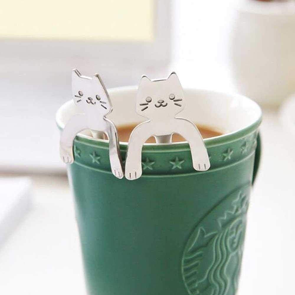 Silver Umiwe 5 Pcs Mini Cat Coffee Spoon Stainless Steel Hanging Cup Teaspoons Demitasse Mini Kitten Design Stirring Spoon Cute Utensil for Tea Dessert Drink Mixing Milkshake Tableware