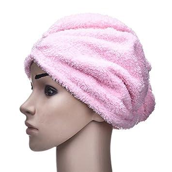 yunhigh microfibra pelo Secar Toallas de mano wraps con botón anti-frizz turbante absorbido pelo tapa para pelo largo rizado Mujeres Niños Mujer Chica: ...