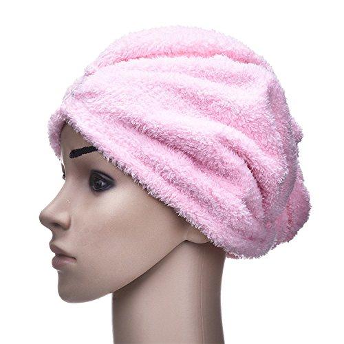 yunhigh Microfibre capelli essiccazione asciugamani Wraps con pulsante Anti-Frizz absorbierende Turbante capelli tappo per ricci capelli lunghi donne bambini da donna ragazza Rosa Yunhigh-123