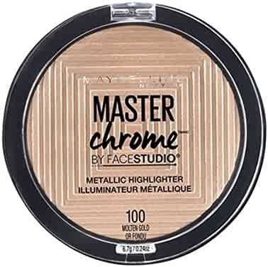Maybelline Makeup Master Chrome Metallic Face Highlighter, Molten Gold Bronzing Powder, 0.24 oz