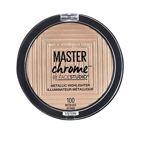 Maybelline Makeup Master Chrome Metallic Face Highlighter, Molten Gold Bronzing Powder, 0.24 oz Gold Highlights Finish