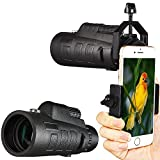CVLIFE 12x50 Monocular Telescope with Cellphone Adapter Mount Compass and Pouch