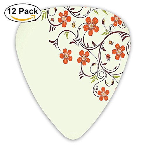 (Newfood Ss Floral Frame With Tiny Little Ladybugs And Swirl Branches Spring Guitar Picks 12/Pack Set)