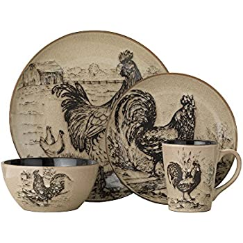 Pfaltzgraff Homespun Rooster 16-Piece Dinnerware Set Service for 4  sc 1 st  Amazon.com & Amazon.com | Sur La Table Jacques Pepin Collection 16-Piece Chickens ...