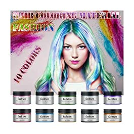 10 Colors Hair Color Wax, Colorful Temporary Hair Dye Cream, Health and Natural for All Kinds of Hair, Easy Coloring…