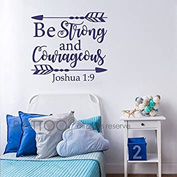 Amazoncom BATTOO Joshua  Be Strong And Courageous Nursery - Bible verse nursery wall decals