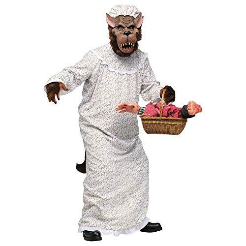 FunWorld Big Bad Granny Wolf Adult Costume - One-Size (Standard) -