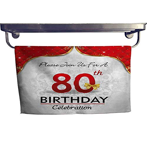 HoBeauty home Pool Gym Towels, Birthday Party Invitation with Abstract Flora Backdrop Red Silver and Golden ,Good Ideal for The Kid's Room, a Guest Room W 23.5