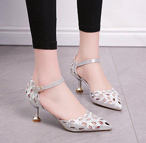 LGLFRXZ HJHY Chaussures à Talons Hauts, Version coréenne Sandales Creuses Été Mince Talon Chaussures pour Femmes Pointues Hauts Talons Confortable (Couleur : Noir, Taille : 39) Silver