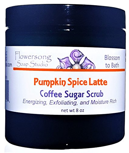Flowersong Pumpkin Spice Latte Coffee Sugar Scrub - Energizing, Exfoliating, and Moisture Rich -