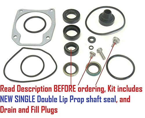 Johnson Evinrude Lower Unit Gearcase Seal Kit with Updated Double Lip Prop Shaft Seal for 25 40 48 50 Hp Non E-TEC Replaces 433550 18-2694